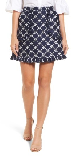 Draper James Women's Floral Lattice Ruffle Skirt