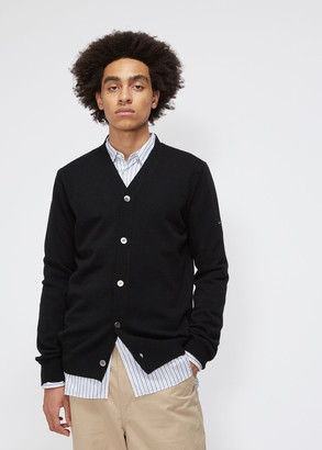 Comme des Garcons Men's Small Black Heart Sleeve Cardigan Sweater 100% Wool