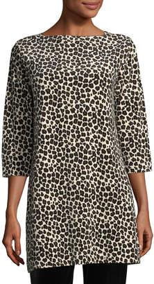 Joan Vass Petite Leopard-Print Velour 3/4-Sleeve Tunic