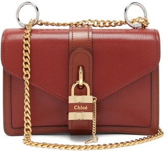 Chloé Aby Leather Shoulder Bag - Womens - Dark Brown