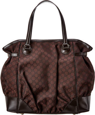 Gucci Brown Nylon & Leather Full Moon Tote