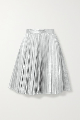 pushBUTTON Pleated Metallic Coated-twill Skirt - Silver
