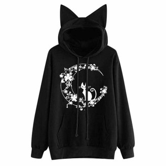 Beetlenew Womens Cothing Women's Hoodie Cute Cat Ears Sweatshirt Casual Loose Kitten Print Hooded Pullover with Drawstring Pocket Long Sleeve Kitty Graphic T-Shirt Jumper Hoody Blouse Tunic Tops for Teen Girl (S