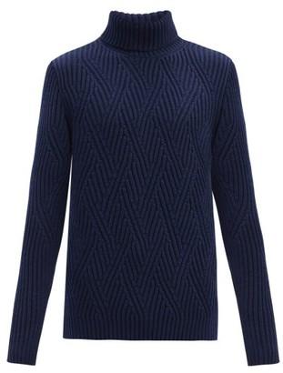 Etro Roll-neck Zigzag Ribbed-knit Merino Wool Sweater - Navy