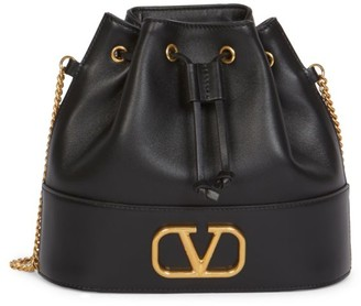 Valentino VLogo Drawstring Leather Bucket Bag