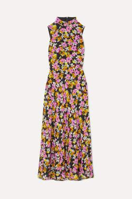 Saloni Gemma Open-back Floral-print Silk Crepe De Chine Midi Dress - Pink