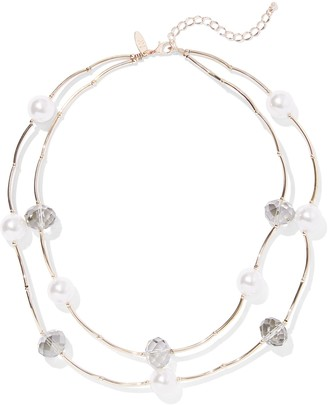 New York & Co. 2-Row Goldtone Faux-Pearl Necklace