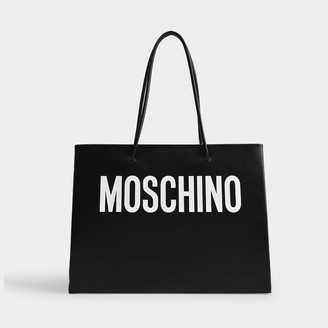 Moschino Large Logo Shoulder Tote In White Calfskin Leather