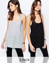Asos Tank With Step Back Hem In Rib 2 Pack