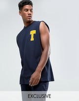 Reclaimed Vintage Inspired Oversized Varsity Vest In Navy