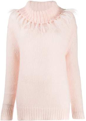 Twin-Set fringed rollneck sweater