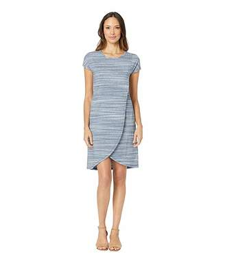 Mod-o-doc Short Sleeve Dress with Crossover in Space Dyed Jersey