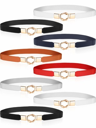 Satinior 8 Pieces Women Skinny Stretchy Waist Belt Metal Elastic Thin Belt for Ladies Dresses 6 Colors