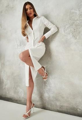 Missguided White Slim Fit Midi Shirt Dress