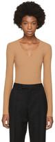 Maison Margiela Beige Long Sleeve V-Neck Bodysuit