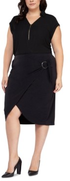 Black Tape Plus Size Faux-Wrap Pencil Skirt