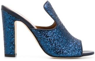 Paris Texas Block Heel Glittered Mules