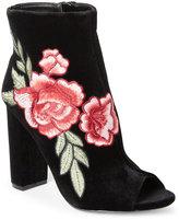 Wild Diva Black Morris Embroidered Peep Toe Booties
