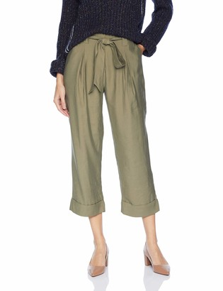 J.o.a. Women's Pleated Roll Up Cropped Paper Bag Pants
