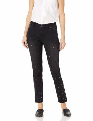 Slim Sation SLIM-SATION Women's Button Front 5 Pocket Jean with Pearl Embellishments