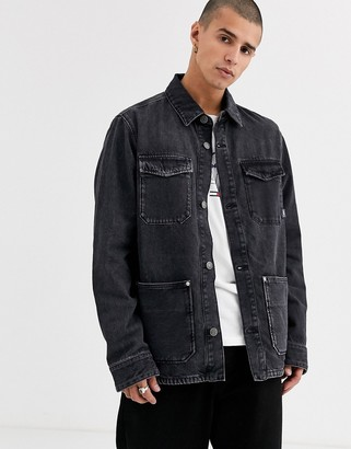Tommy Jeans workwear cargo jacket in washed black with multi pocket detail