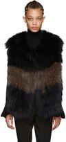 Yves Salomon Navy & Brown Knit Fur Vest