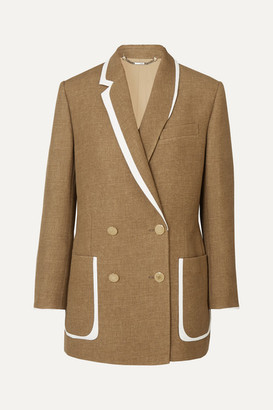 Fendi Double-breasted Bow-detailed Leather-trimmed Wool And Silk-blend Blazer - Beige