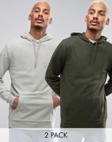 Asos Longline Hoodie 2 Pack Gray Marl/ Khaki