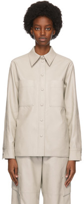 Stella McCartney Grey Faux-Leather Hattie Shirt