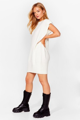 Nasty Gal Womens You'll Knit Right in Shoulder Pad Mini Dress - White - S