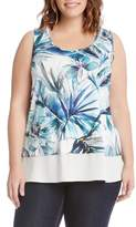 Karen Kane Plus Size Women's Tropical Print Sheer Hem Top