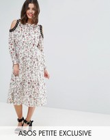 Asos Exclusive Printed Lace Midi Dress with Cold Shoulder and Metal Trim
