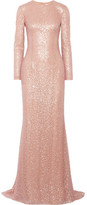 Reem Acra - Sequined Tulle Gown - Blush
