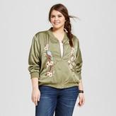 Xhilaration Women's Plus Size Embroidered Bomber Jacket Green
