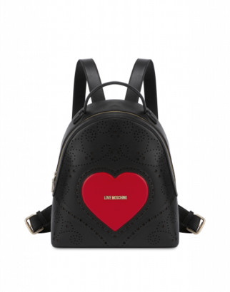 Love Moschino Backpack Heart Embroidery Woman Black Size U It - (one Size Us)