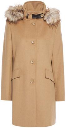 DKNY Faux Fur-trimmed Wool-blend Felt Coat