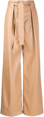 MSGM Leather Effect Palazzo Trousers