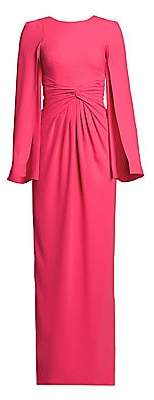 Theia Women's Knotted Cape-Sleeve Gown
