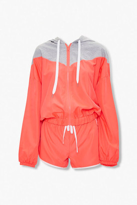 Forever 21 Neon Zip-Up Hoodie Dolphin Shorts Set
