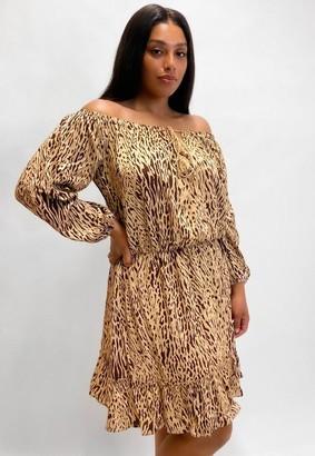 Missguided Plus Size Stone Zebra Print Tassel Bardot Midi Dress