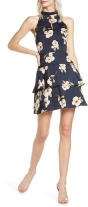 BB Dakota Gardenia Floral Tiered Ruffle Mini Dress