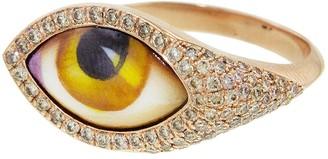 Amber Enamel Evil Eye Ring - Rose Gold