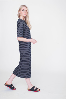 Beaumont Organic Paige Cotton Striped Dress - SM - Black/Grey