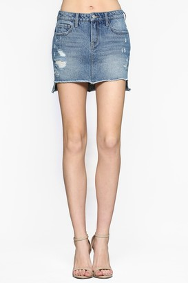 Vervet By Flying Monkey Claudia High Waist Step Hem Denim Mini Skirt