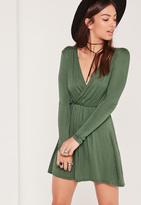 Missguided Wrap Long Sleeve Skater Dress Green