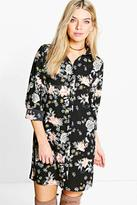 Boohoo Khloe Floral Oriental Split Sleeve Shirt Dress