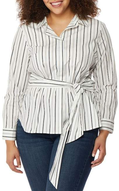 Wilson Rebel X Angels Wrap Tie Stripe Shirt (Plus Size)