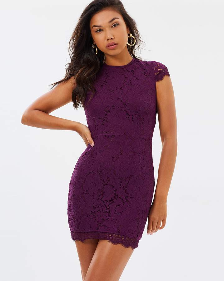 Missguided Round Neck Open Back Lace Bodycon Dress