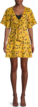 BCBGeneration Floral-Print Tie-Front Day Dress
