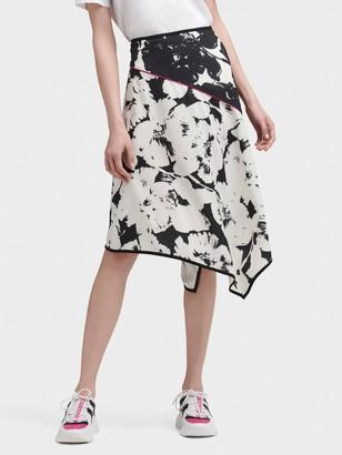 DKNY Floral Print Asymmetrical Skirt